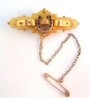 Antique 9ct Gold Horseshoe Hair Panel Bar Brooch.